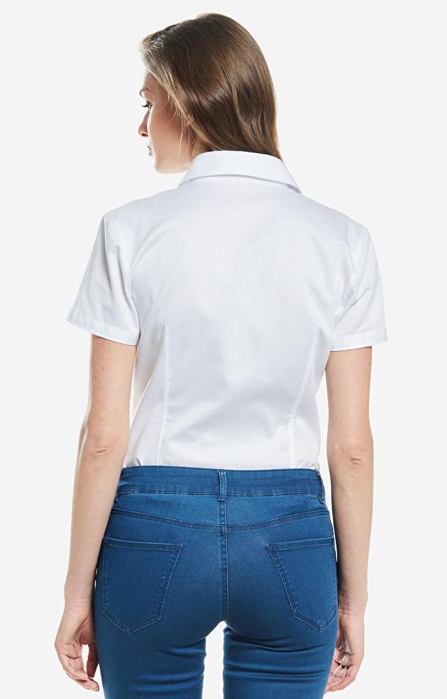 Biała koszula damska krótki rękaw WÓLCZANKA