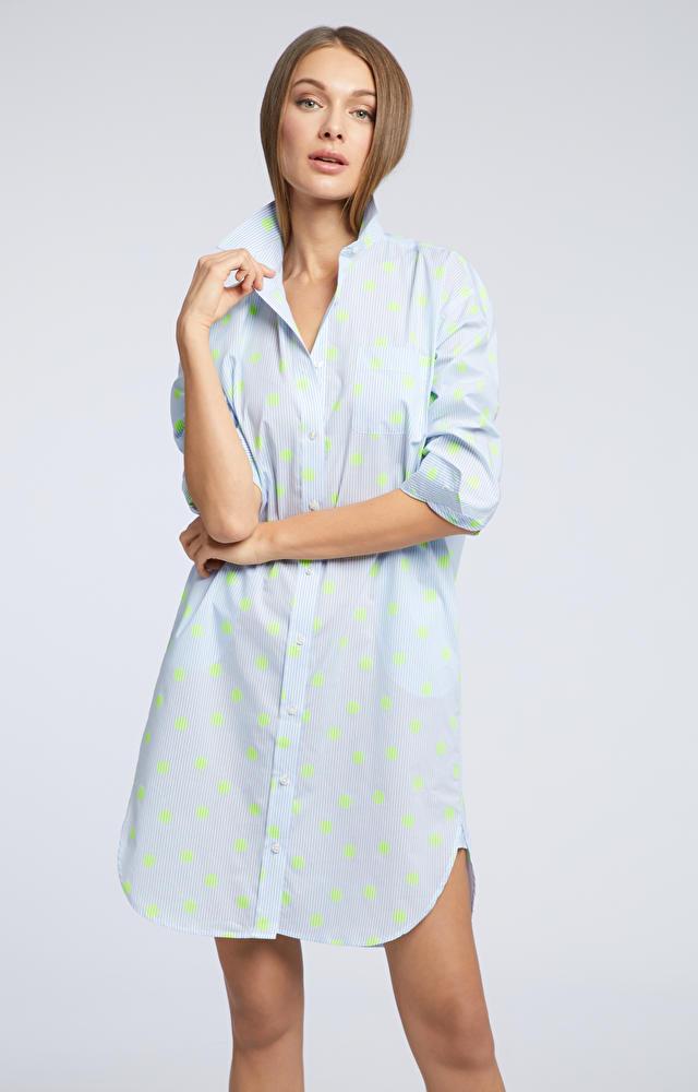 Niebieska koszula damska długa WÓLCZANKA