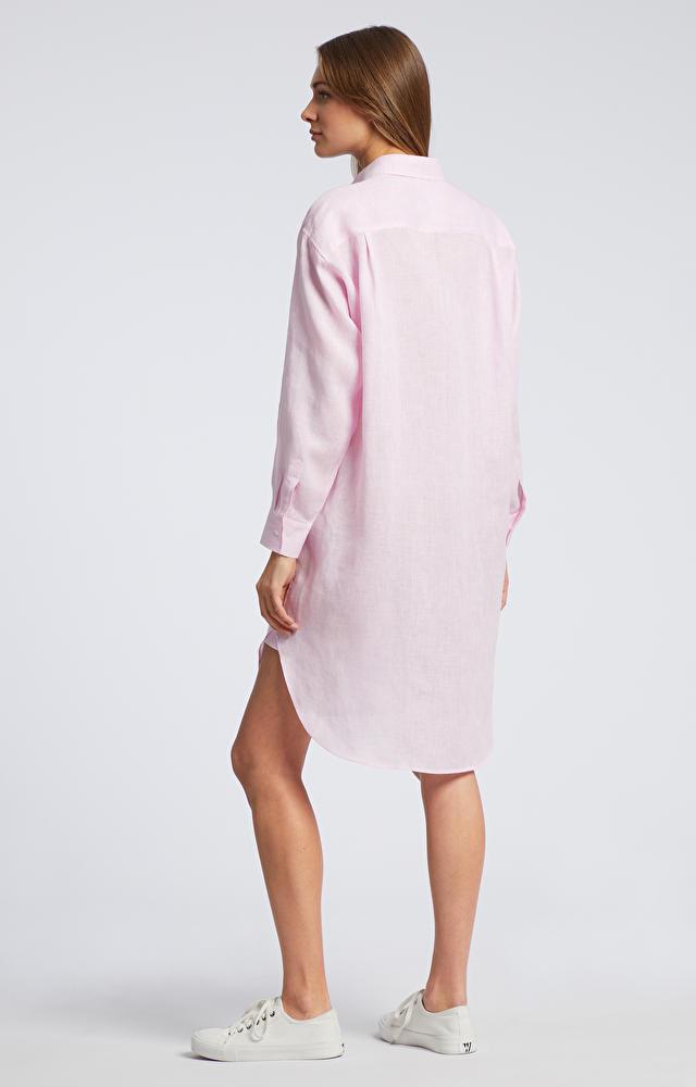 Różowa koszula damska długa WÓLCZANKA