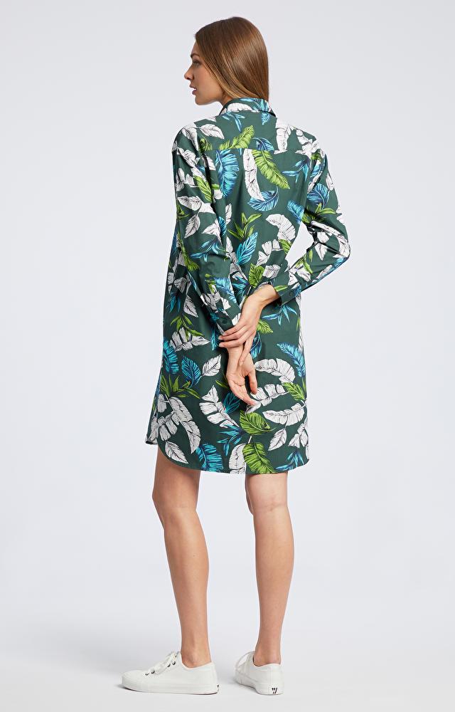 Zielona koszula damska długa WÓLCZANKA
