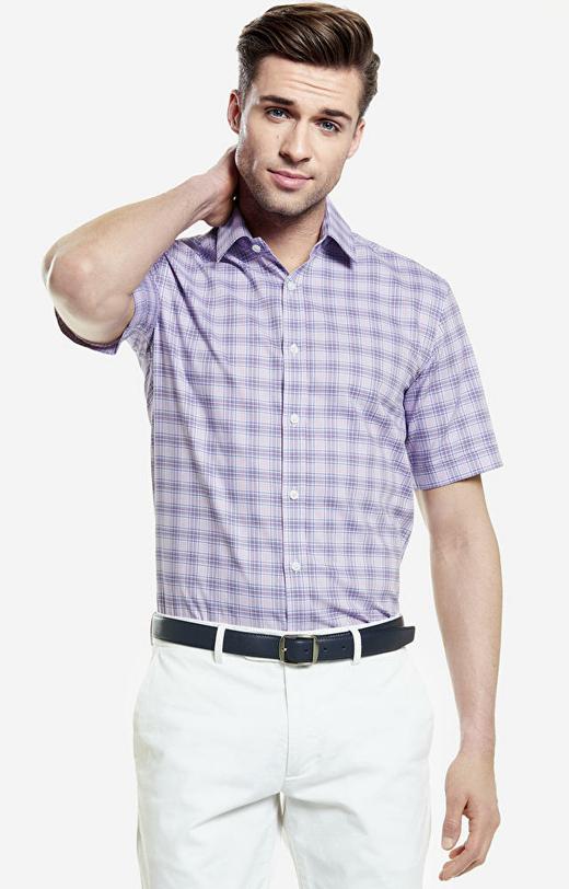Różowa koszula męska krótki rękaw WÓLCZANKA