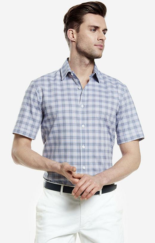 Szara koszula męska krótki rękaw WÓLCZANKA