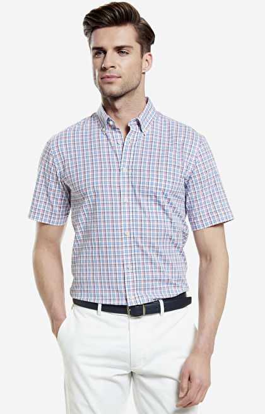 Wielokolorowa koszula męska krótki rękaw WÓLCZANKA