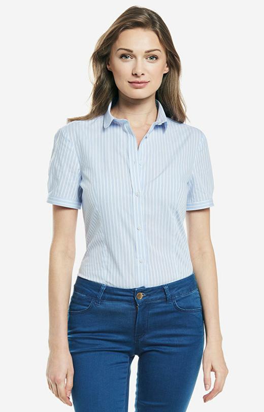 Niebieska koszula damska krótki rękaw LAMBERT