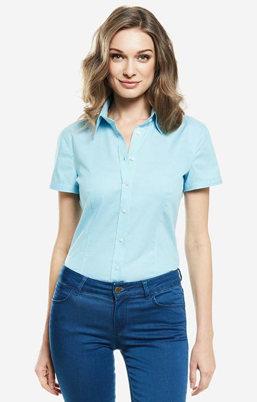 Niebieska koszula damska krótki rękaw WÓLCZANKA