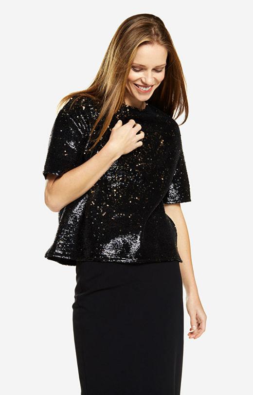 Czarna koszula damska krótki rękaw LAMBERT