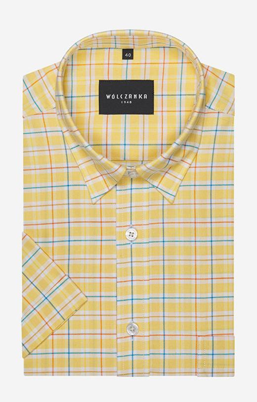 Fioletowa koszula męska krótki rękaw WÓLCZANKA