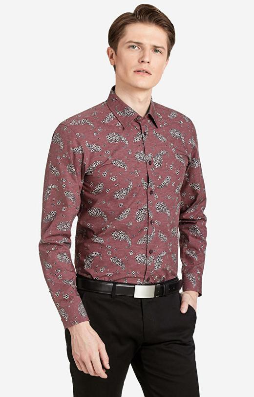 Bordowa koszula LAMBERT