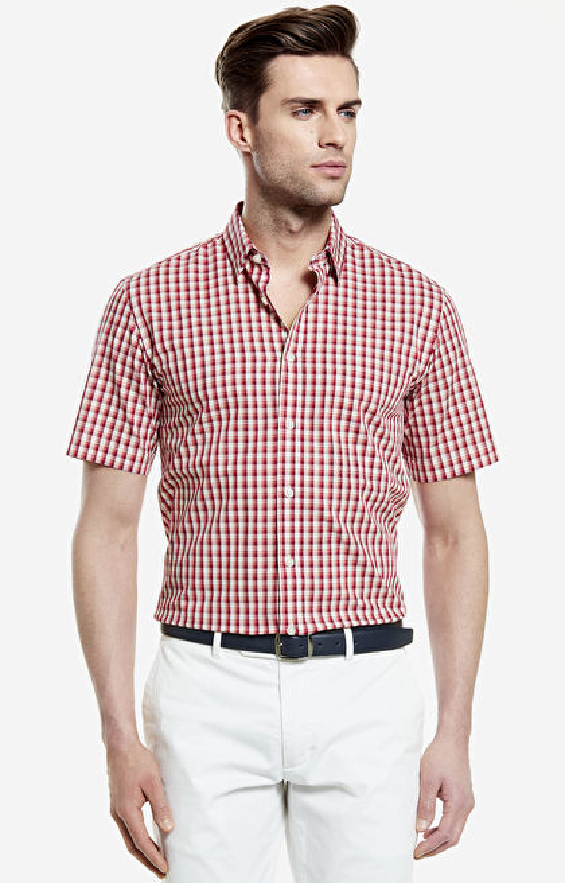 Czerwona koszula męska krótki rękaw WÓLCZANKA