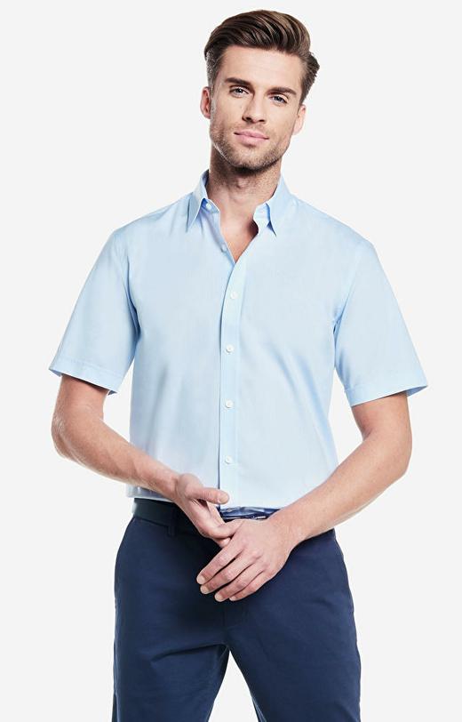 Niebieska koszula męska krótki rękaw WÓLCZANKA