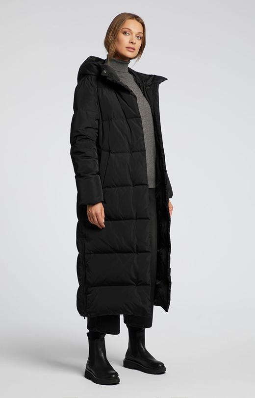 Długa kurtka z naturalnym puchem