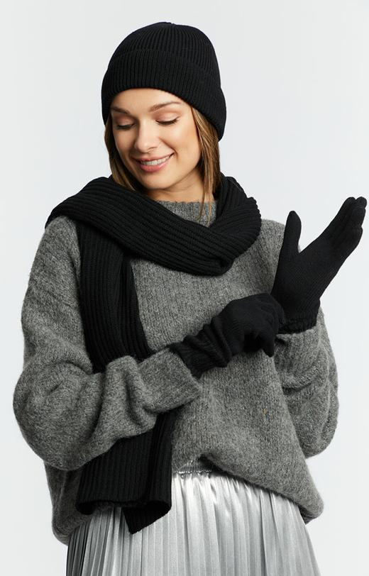 Rękawiczki z czarnej wełny merino
