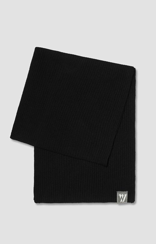 Szalik z czarnej wełny merino