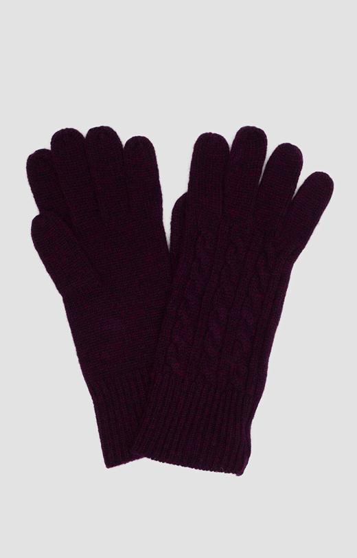 Rękawiczki z fioletowej wełny merino