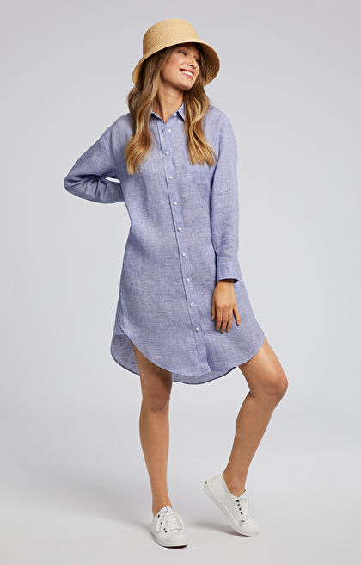 Granatowa koszula damska długa WÓLCZANKA