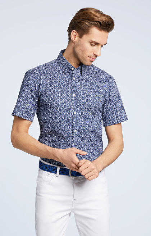 Granatowa koszula męska krótki rękaw WÓLCZANKA