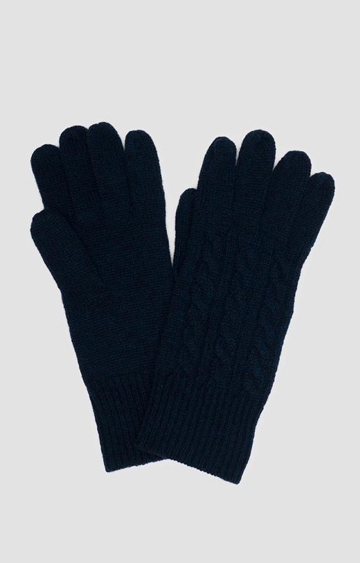 Rękawiczki z granatowej wełny merino