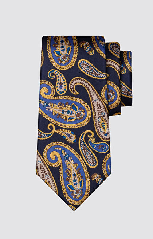 Jedwabny krawat we wzór paisley LAMBERT