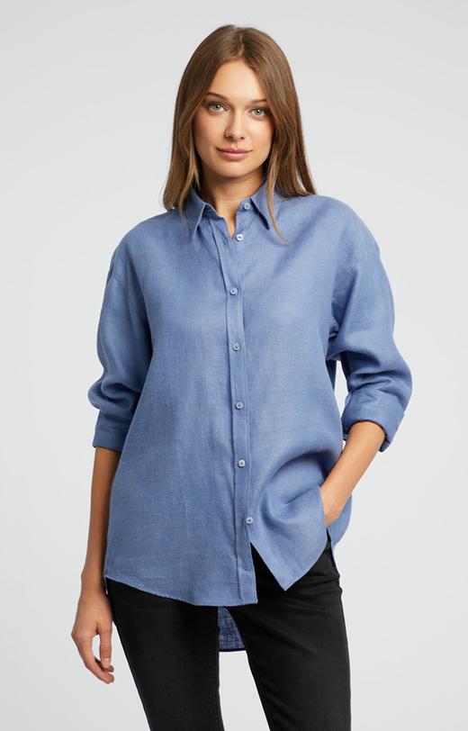 Lniana oversize'owa koszula