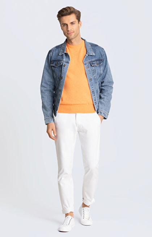 Pomarańczowy sweter WÓLCZANKA