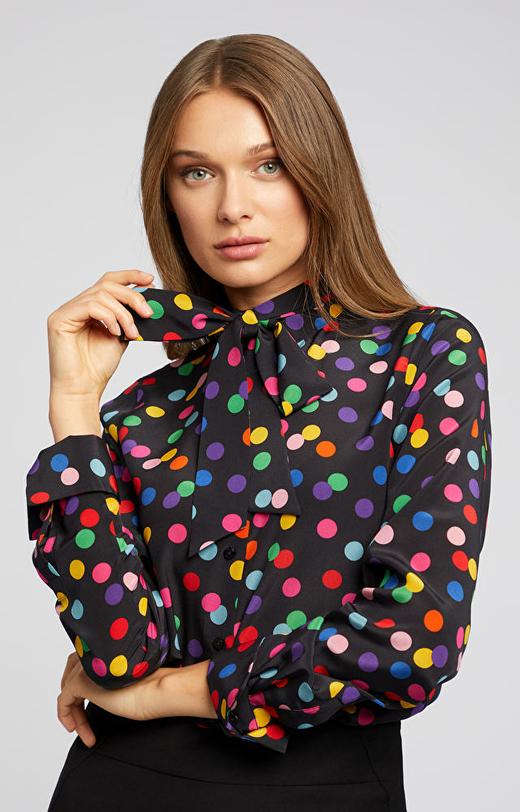 Jedwabna koszula w groszki LAMBERT