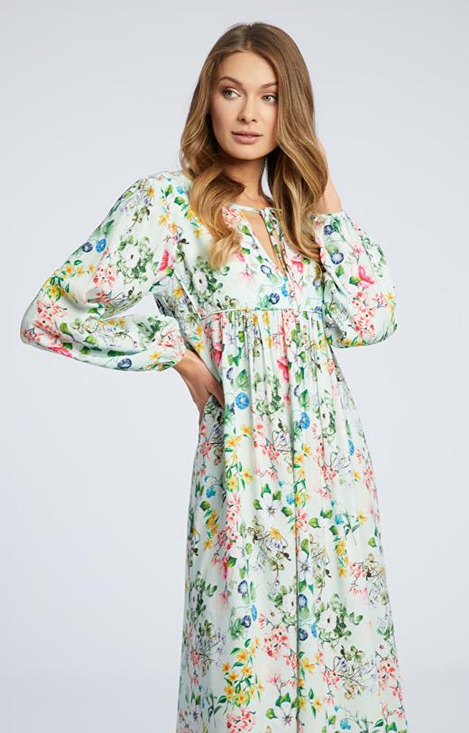 Seledynowa sukienka WÓLCZANKA