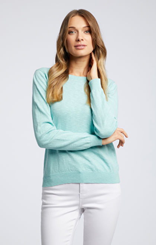 Seledynowy sweter damski WÓLCZANKA